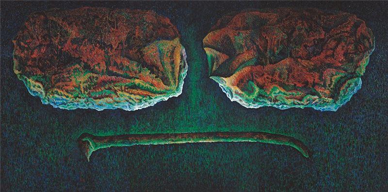 盧怡仲〈石器與角器〉1987  油彩、畫布  195×390 cm