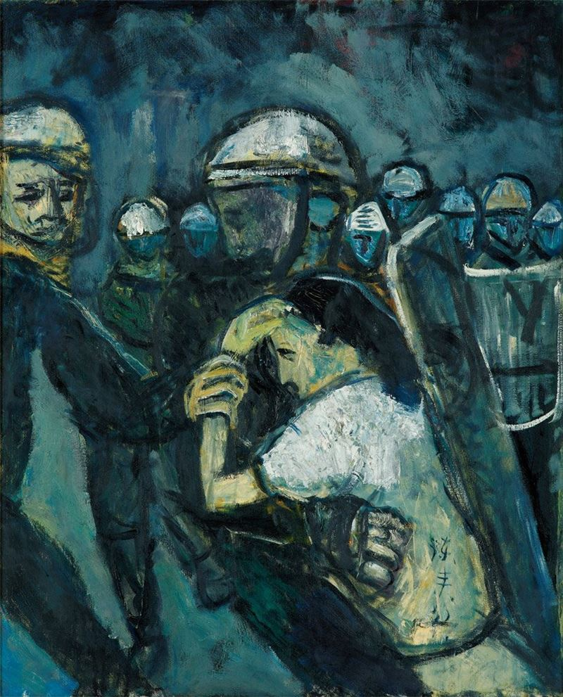 陳來興〈逮捕〉1989 油彩、畫布 80×65 cm