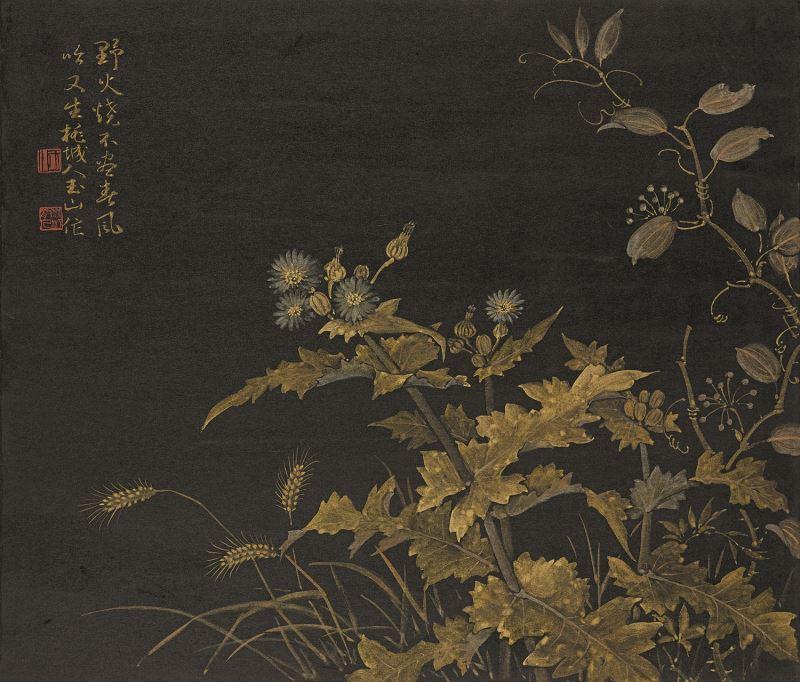 林玉山〈春草〉1984金彩、紙本45x53cm國立臺灣美術館典藏