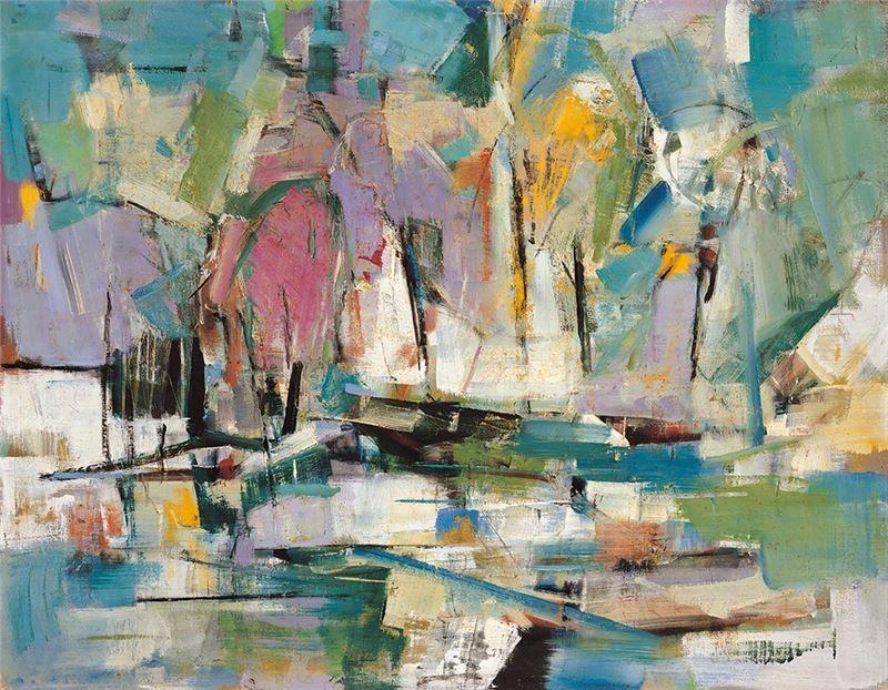 何肇衢〈池畔〉1969 油彩、畫布 91×116.5 cm