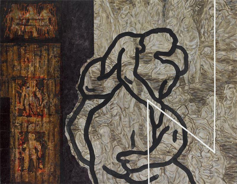 洪根深〈迷情之 2〉2001 複合媒材 91×116 cm