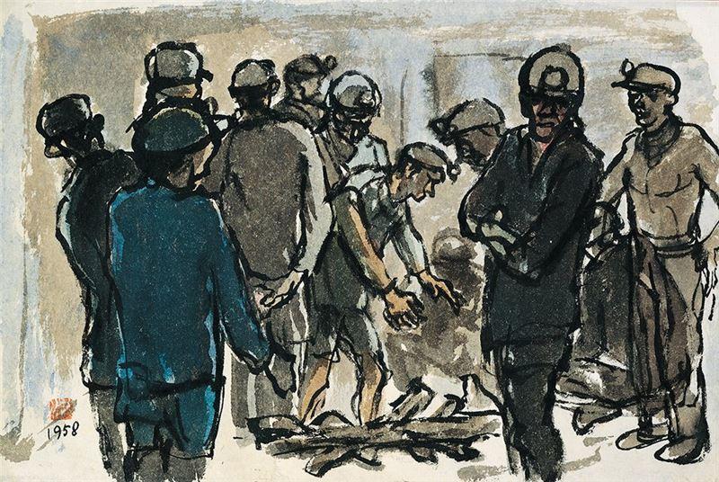 洪瑞麟〈盼〉1958  水彩、紙本  31.4×47 cm
