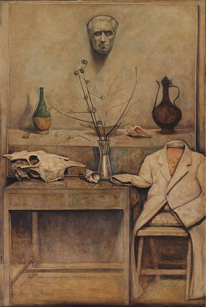 陳景容〈有牛頭的靜物〉1967 油彩、畫布 193×130 cm