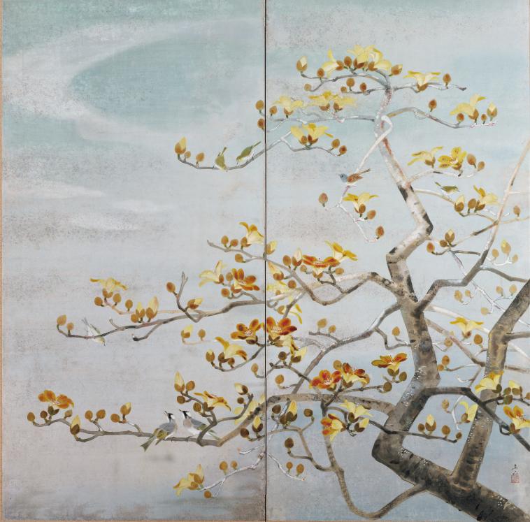 林玉山〈木棉花〉年代不詳,膠彩畫149.0 x 150.1公分。國立台灣美術館典藏