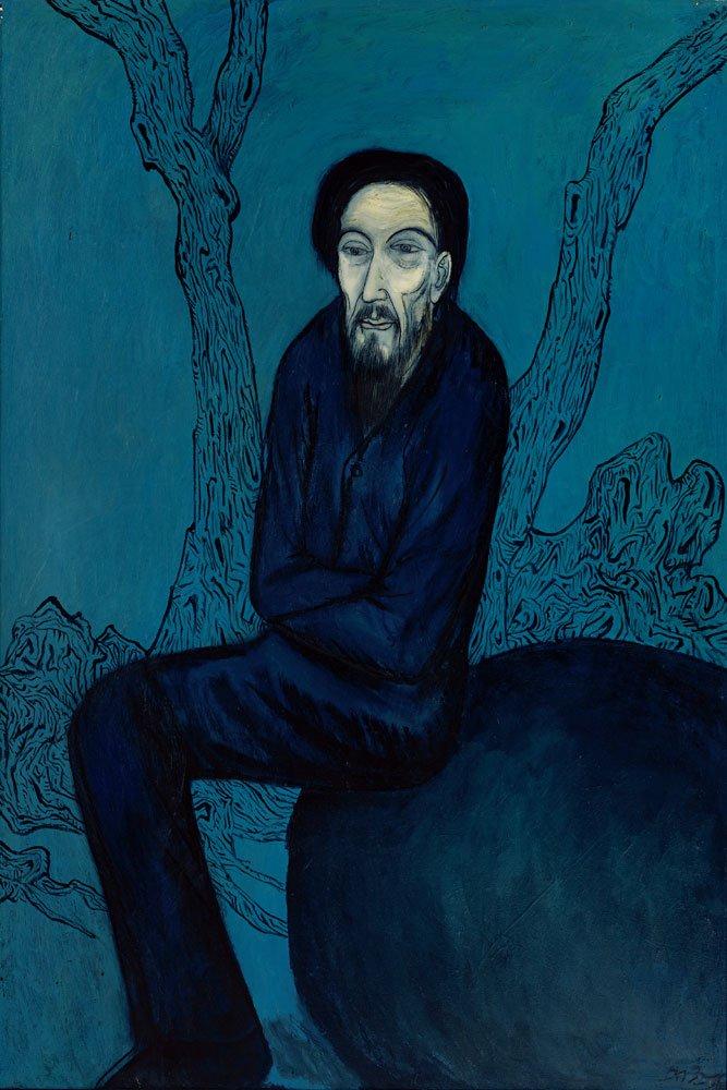 邱亞才〈旅人〉1992 油彩、畫布 194×130.5 cm