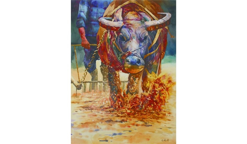 拍賣會中最高價的作品為西畫類高中職組特優--古曉婷的「誰知盤中飧, 粒粒皆辛苦」,以20,000元賣出。