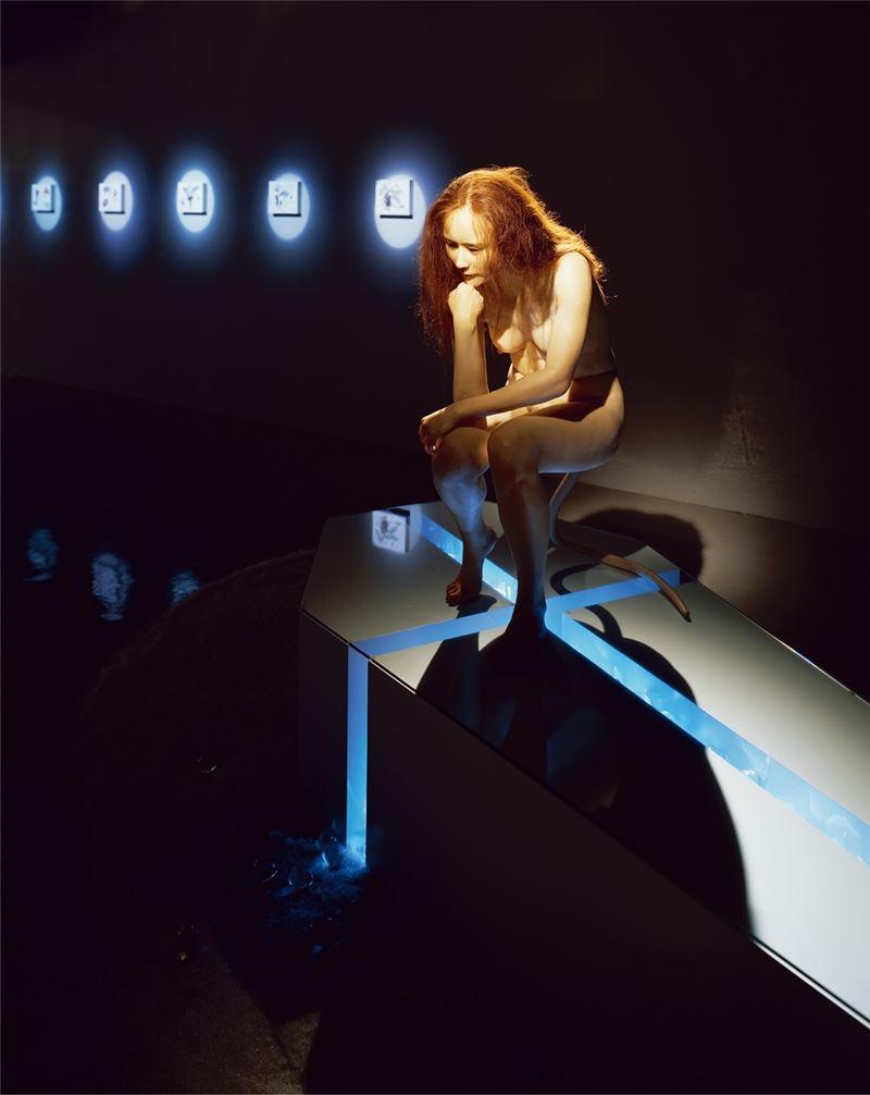 劉世芬〈斯芬克斯的臨床路徑〉2005 仿真雕塑、粗鹽、玻璃、壓克力 尺寸依展出場地調整