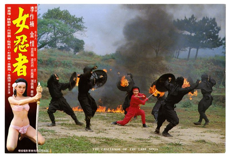 Actress YANG Hui-Shan is the alluring warrior in hot red ninja garb, who also has the special skill set of spinning out of her clothes and fighting in her bikini when battling fearsome opponents.
