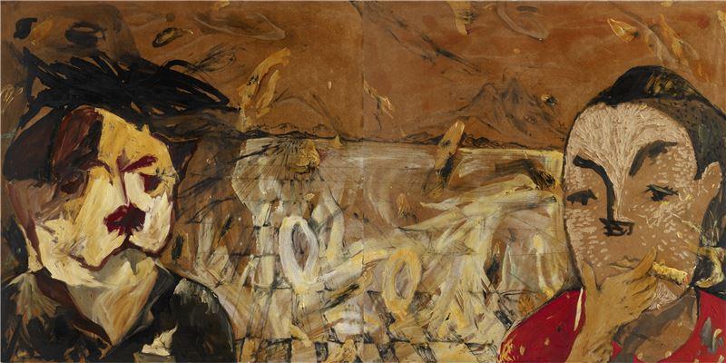 黨若洪〈人物、自我.雙位一體〉2009 油彩、木板 122×244 cm