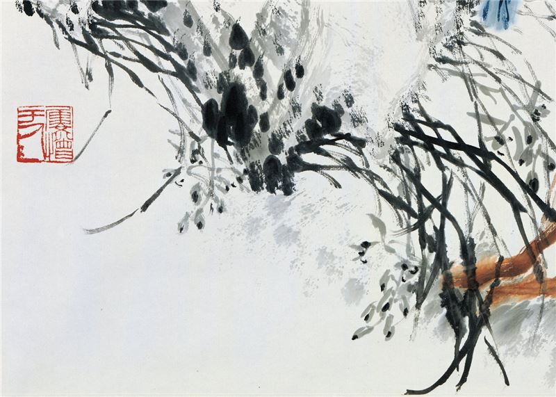 WU Ping〈Peacocks in Black Water Ink〉Detail