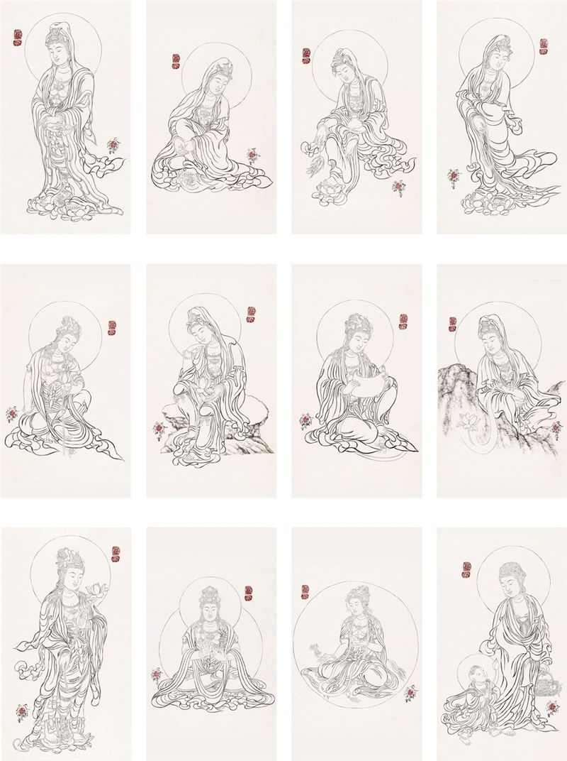 SHI Song〈Thirty-three Guanyin Bodhisttvas Drawings〉Detail