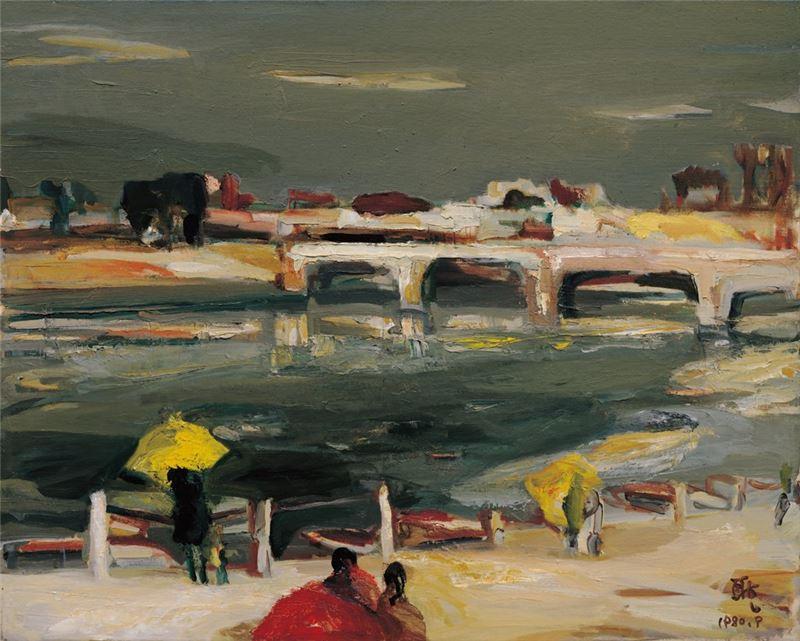 劉耿一〈橋〉1980 油彩、畫布 72.2×90.4 cm