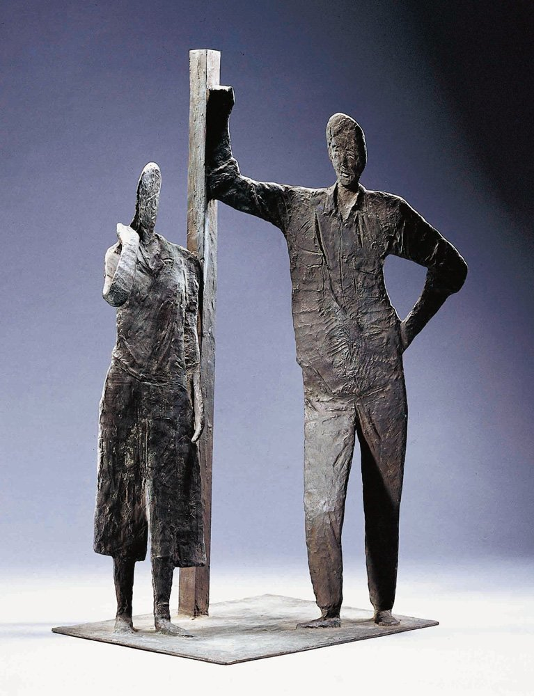 HSIEH Tong-liang〈Meet by Chance〉1986 Bronze 41.5×38.5×74 cm