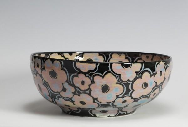 2009 | Large Black Glazed Bowl with Scattered Flower Pattern