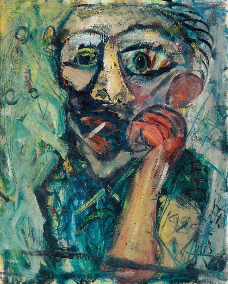 陳來興〈好友〉1989 油彩、畫布 80×65 cm