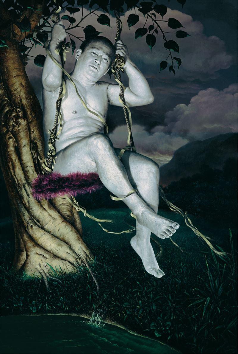 郭維國〈盪鞦韆〉2000 油彩、畫布 193.5×130 cm