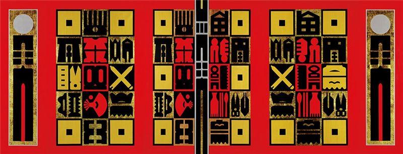 廖修平〈節慶之門〉2006 壓克力、金箔、畫布 259×681 cm