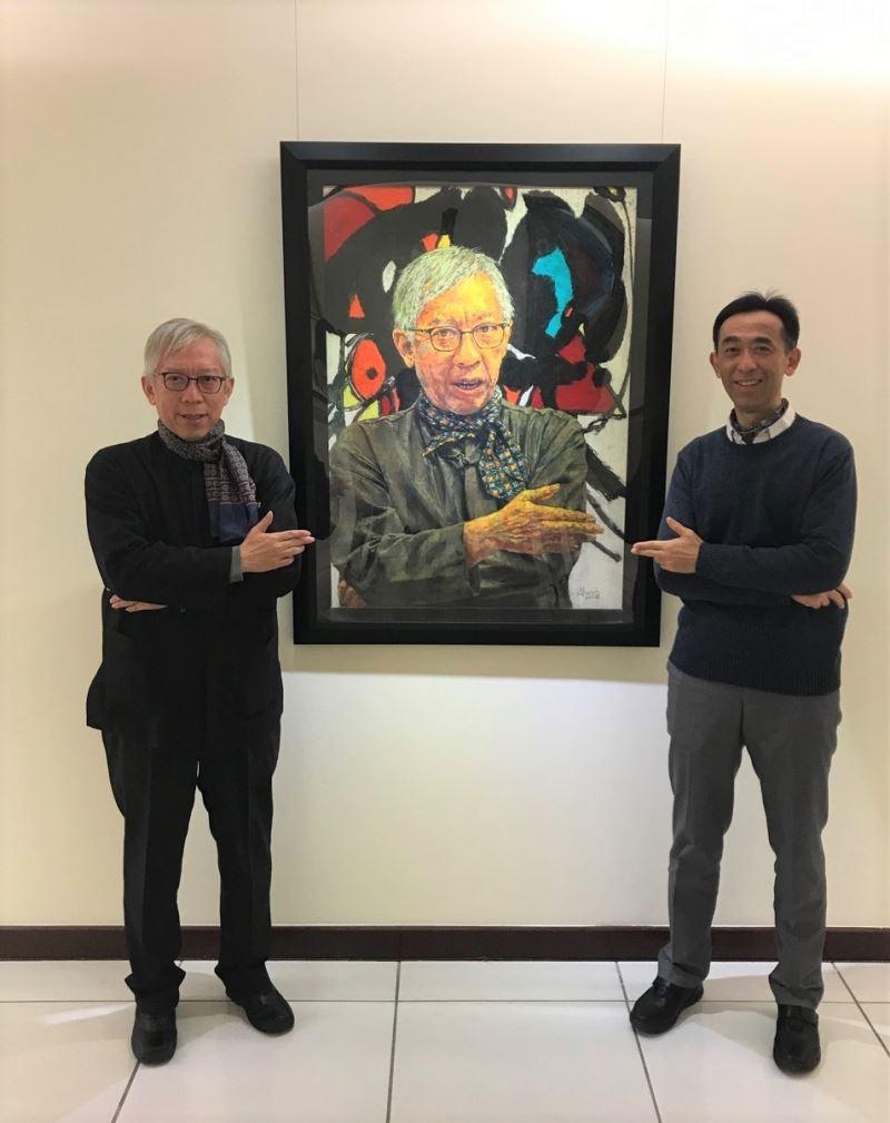 國立國父紀念館館長王蘭生(右)與國立台灣美術館館長梁永斐(左)合影