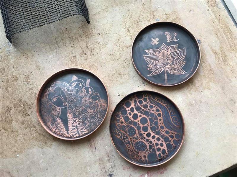 繪染銅盤2(課堂作品)
