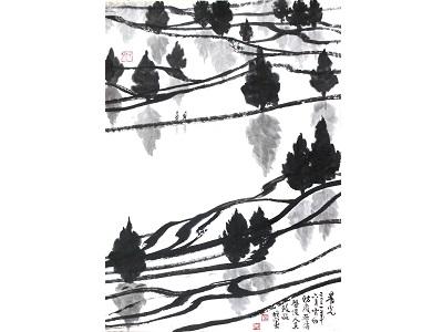 水墨畫家羅振賢教授的防疫作品《晨光》。