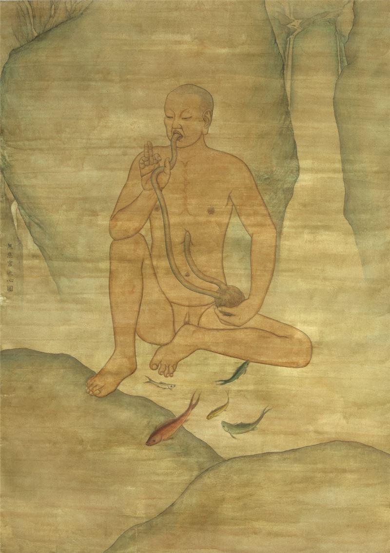 林鉅〈吮心圖〉1999 水墨設色、紙本 185×133 cm