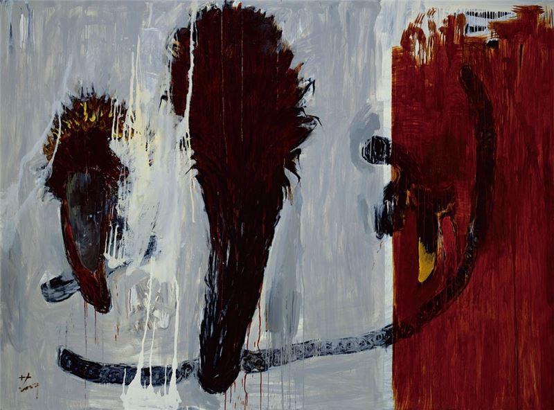 葉竹盛〈種子+F(23)〉2007 壓克力顏料、油彩、畫布 248×333 cm