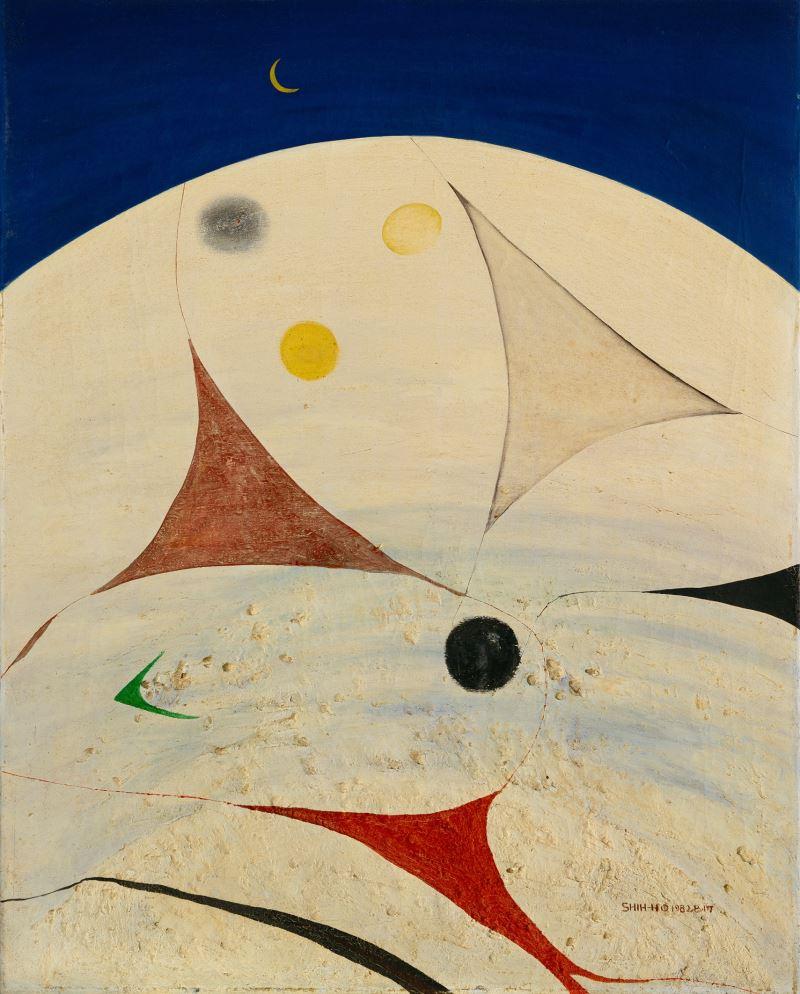 國美館典藏之莊世和作品〈憶北海道之夜〉1982, 油畫, 91.0 x 72.5 cm