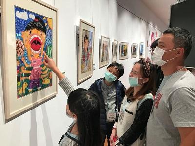 "Visitors to the exhibition ""Children's Art World"""