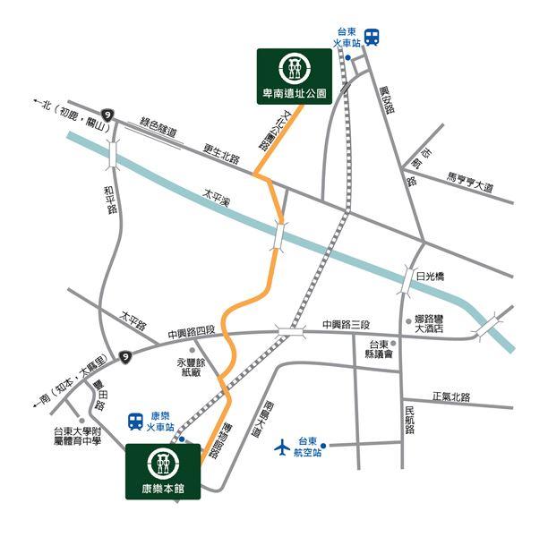 康樂本館及卑南遺址公園交通路線圖