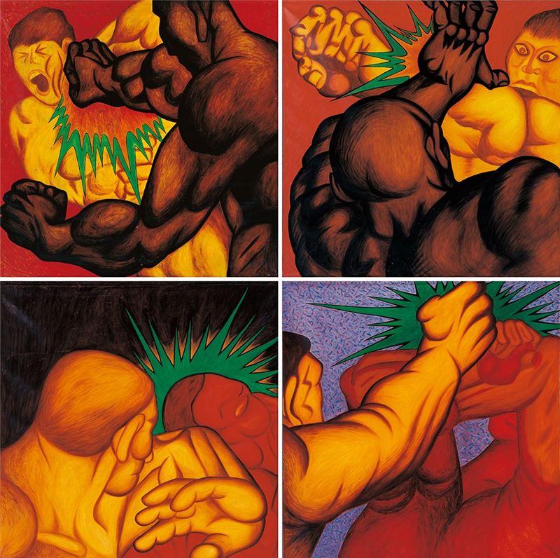 楊茂林〈遊戲行為.爭鬥篇〉1987  油彩、畫布  167×162 cm