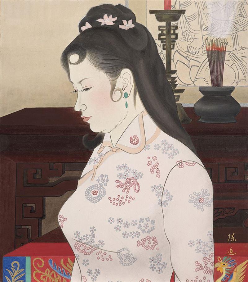 陳進〈喜事臨門〉1970  膠彩、絹本  51×44.7 cm