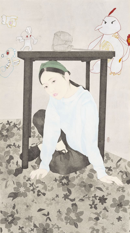 〈網夢〉 水墨 124.5X69.5cm 2017