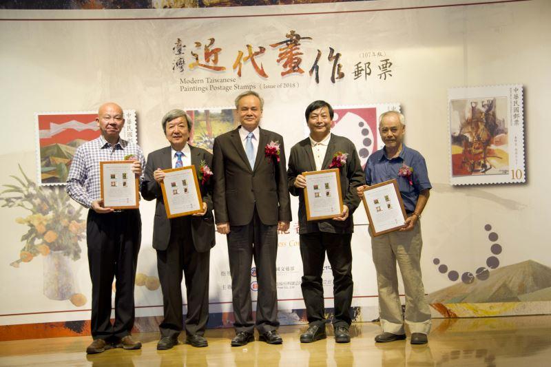 中華郵政陳憲着總經理與(左起)廖繼斌,林敬忠,劉高興,詹學富