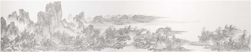 陳浚豪〈臨摹北宋燕文貴江山樓觀圖〉2013 不鏽鋼蚊釘、畫布、木板 108×518 cm
