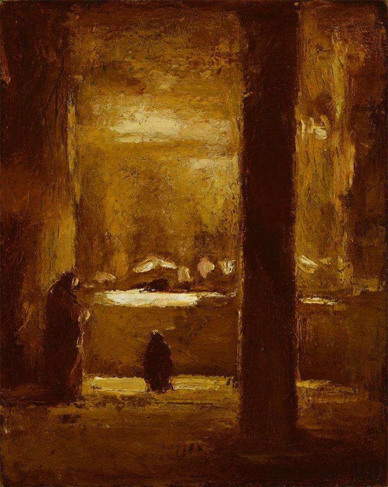 劉耿一〈廟內〉1963 油彩、畫布 87×71 cm