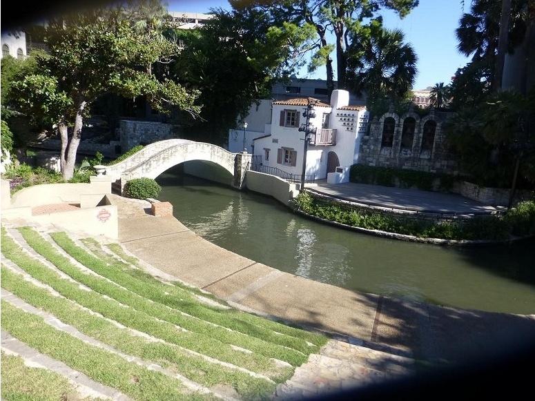 The Arneson River Theater behind La Villita Historic Arts Village in San Antonio, Texas.