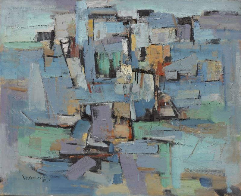 何肇衢作品〈河畔〉,1970年,油畫,國立台灣美術館典藏。