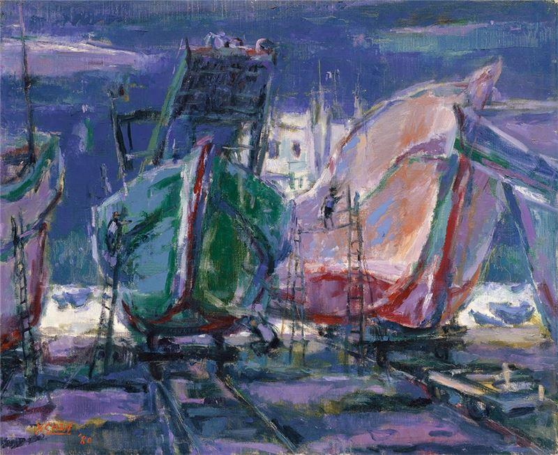 陳銀輝〈修船〉1980 油彩、畫布 49.5×60.5 cm