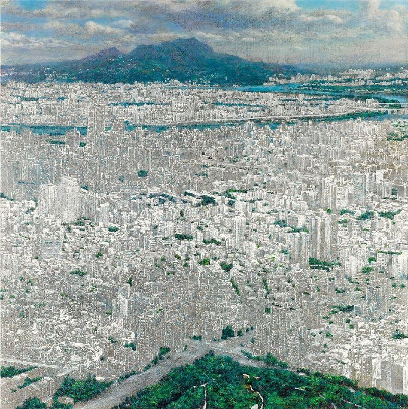 洪天宇〈空白城市(觀音山)〉2013 壓克力顏料、畫布 174×174 cm
