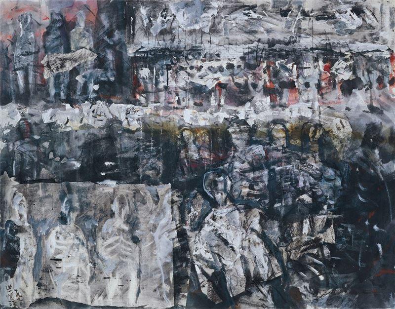 洪根深〈黑色情結-21〉1990 複合媒材 91×116.7 cm