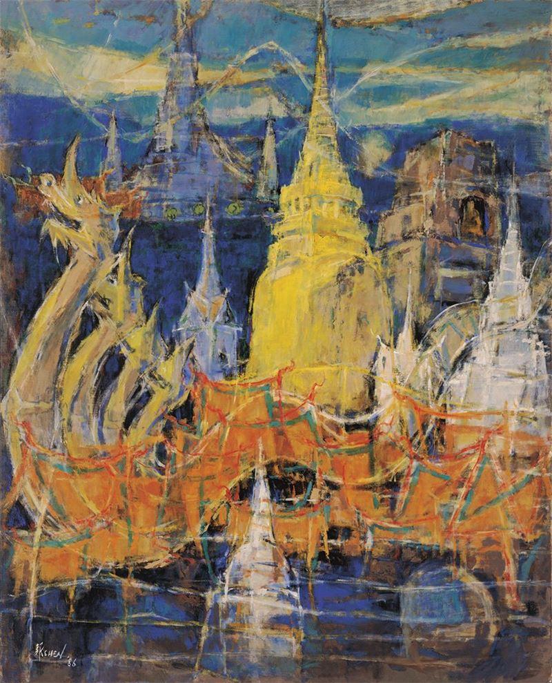 陳銀輝〈憶泰國〉1986 油彩、畫布 162×130 cm