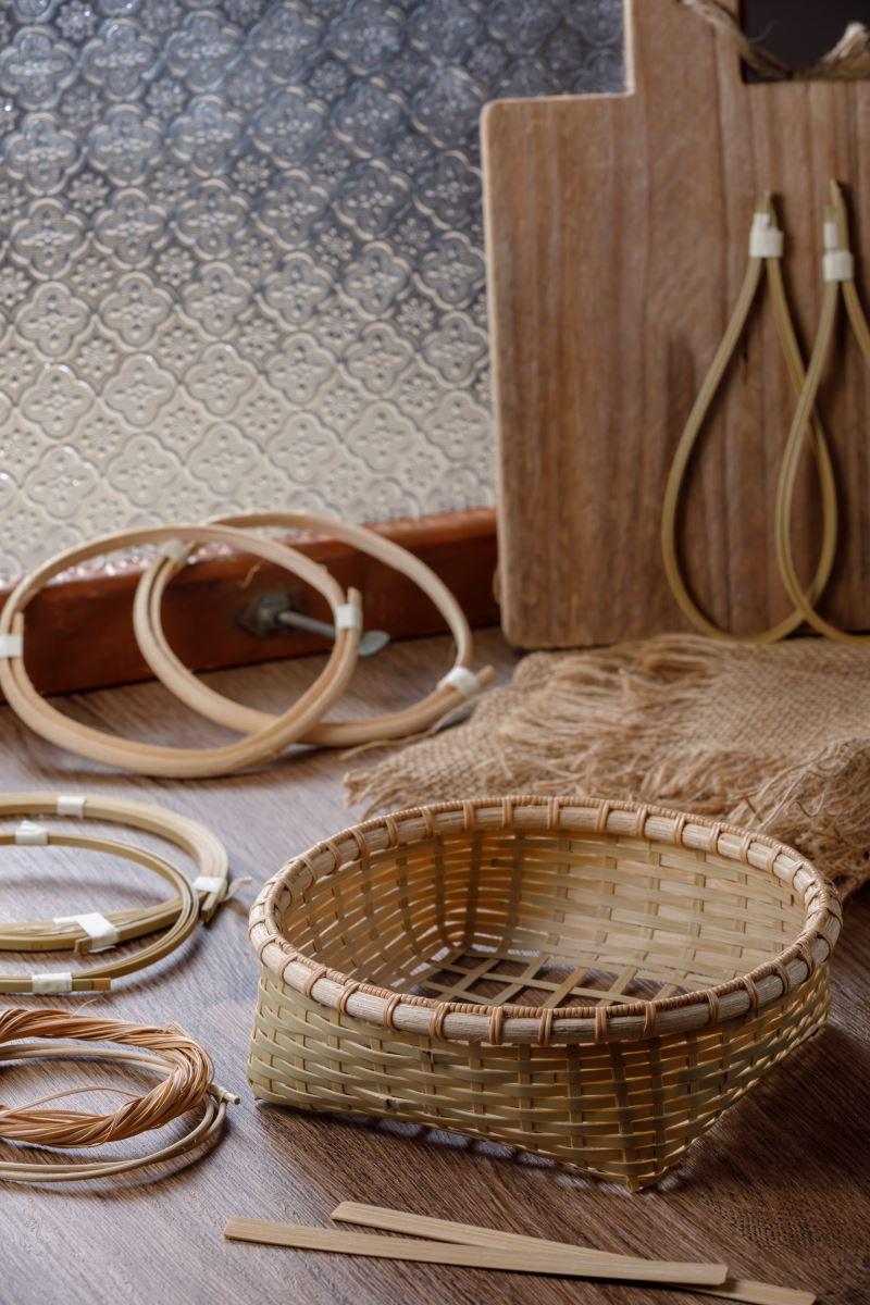 竹貓工作室_四角孔纏繞竹編置物籃