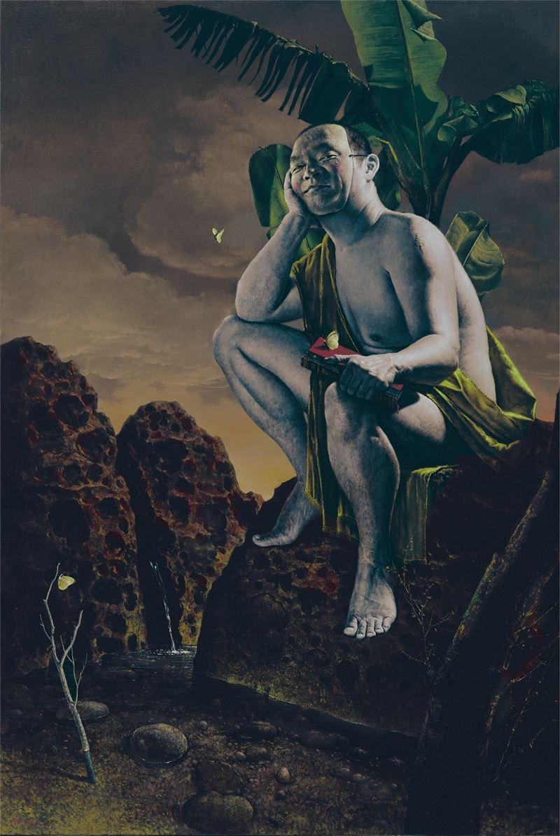 郭維國〈芭蕉樹下〉2002 油彩、畫布 193.5×130 cm