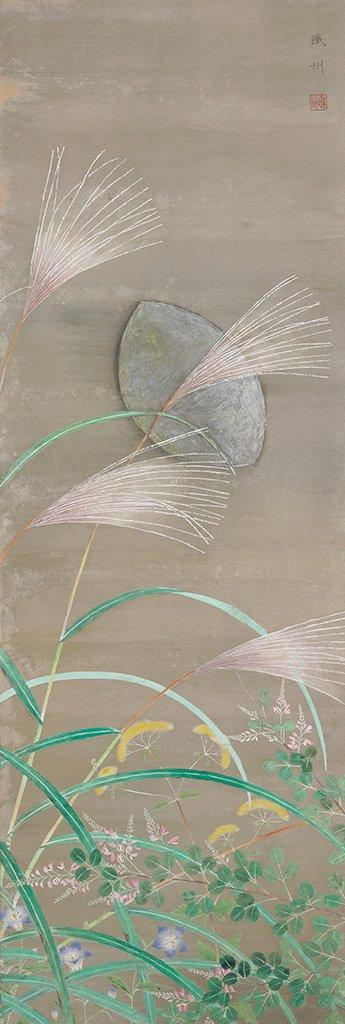 呂鐵州〈夕月〉1931  膠彩、絹本  141.2×48.2 cm
