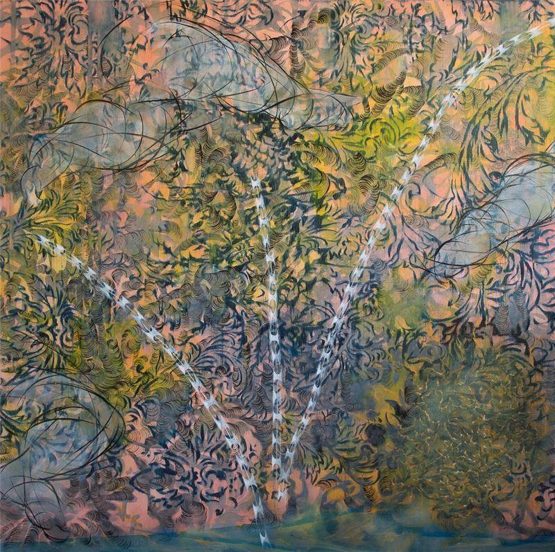 謝鴻均〈思緒與肉身的對話〉2013 油彩、畫布 173×173 cm