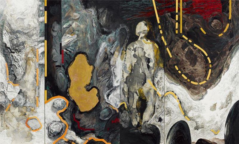洪根深〈屹立〉2009 複合媒材 155×256 cm