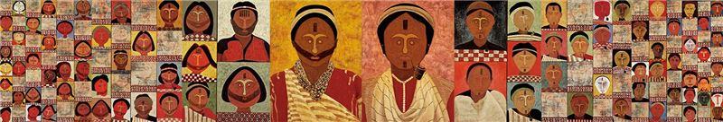 安力.給怒(賴安淋 )〈紋面族〉1996 油彩、畫布 165×1059 cm