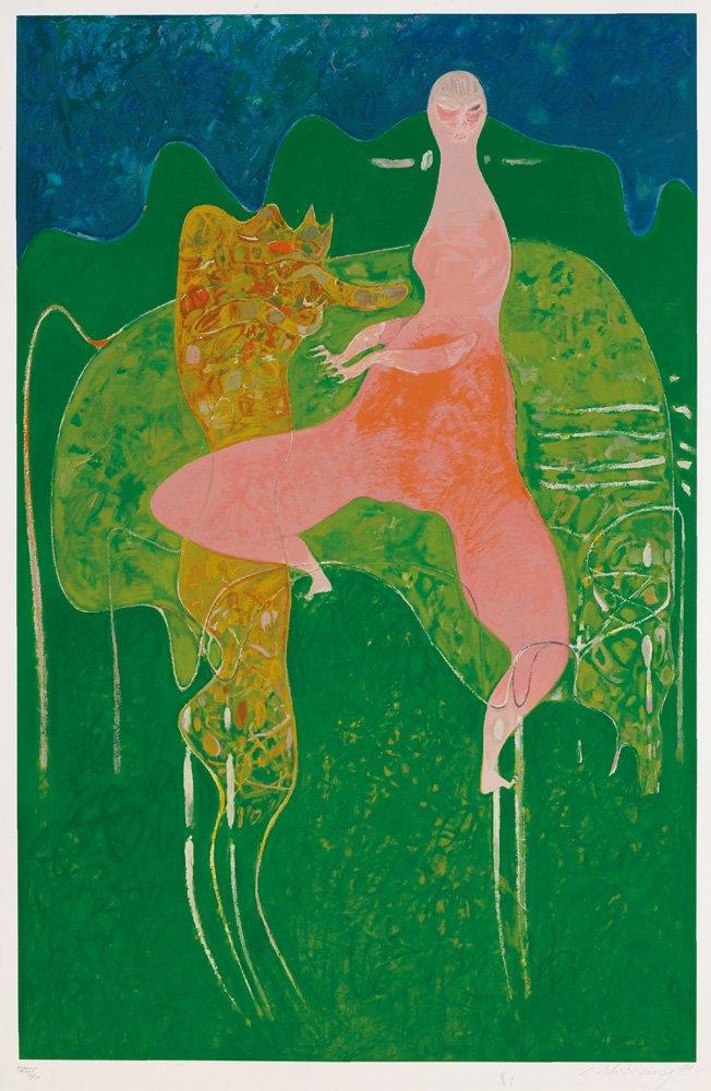 黃銘哲〈綠色的夢〉版畫 256×159 cm