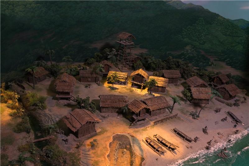 鐵器時代的「淇武蘭遺址」模型,呈現當地早期居民高腳屋建築聚落與生活情景。