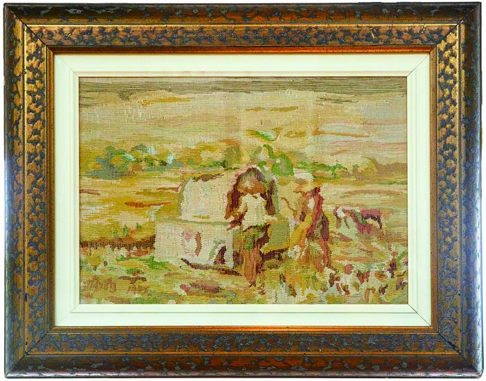 這幅複刻李梅樹〈豐收〉的作品,號稱是緙絲界的勞斯萊斯,為了要能夠呈現出油畫原作的筆觸感,以及配色,運用了6、70種顏色,7、8種不同的技法,才完成這幅作品。